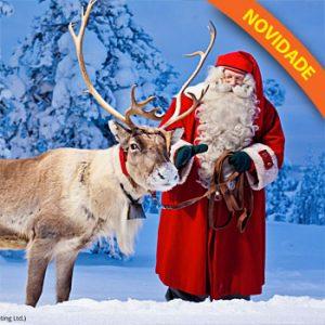 Natal com Papai Noel e Aurora Boreal